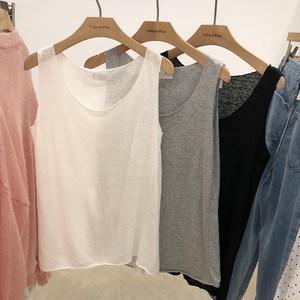 韩版吊带T恤<span class=H>背心</span>女简约百搭纯色柔软亲肤圆领无袖打底衫