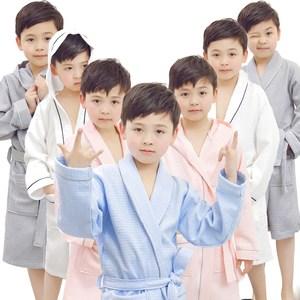 儿童<span class=H>浴袍</span>男孩夏季薄款纯棉女孩带帽中大童温泉游泳吸水小孩睡袍