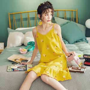 2019夏季新款小清新短袖卡通吊带睡裙 家居服卡通<span class=H>睡衣</span>女纯棉可爱
