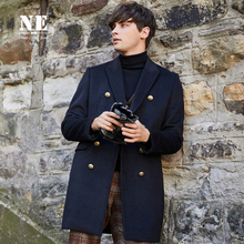 Hui/Autumn/Winter British Men's Clothes Thickened Medium-length Slim Youth Wool Overcoat Men's Cashmere Clothes