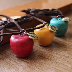 文艺复古原创设计小苹果长款项链棉麻服饰搭配挂件配饰饰品<span class=H>毛衣链</span>