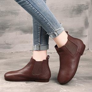 艺�原创手工真皮<span class=H>短靴</span>平底文艺加绒女靴子森女圆头切尔西单靴裸靴