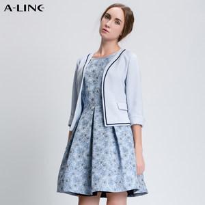 Aline/阿莱 <span class=H>秋季</span><span class=H>新款</span>蓝色<span class=H>小</span><span class=H>外套</span> 简约时尚立体百搭职业OL装上衣