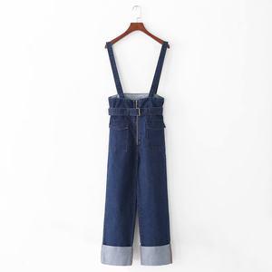 出口专柜大牌风女士新款高腰双口袋配腰带翻边直筒?#27431;?#32972;带牛仔裤