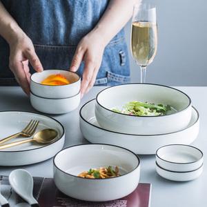 釉下彩简约北欧陶瓷碗黑线条餐具米饭碗汤碗沙拉碗深盘子家用面碗