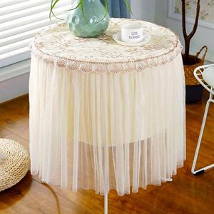 圆桌桌布蕾丝欧式布艺圆形家用客厅茶几桌布<span class=H>盖巾</span>大圆桌餐厅台布