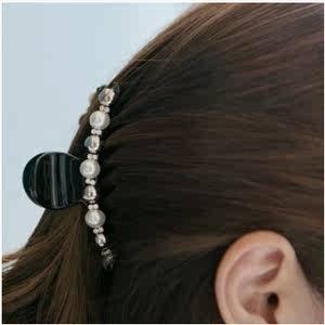 韩国发饰正品复古优雅珍珠气质韩版发夹大号发抓顶夹韩版百搭发饰