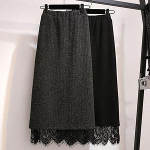 蕾丝针织包臀裙中长款半身裙加肥加大码胖MM200斤秋冬毛线一步裙