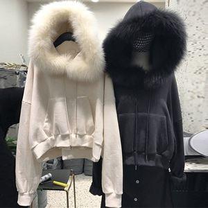 秋冬2018新款韩版宽松纯色真毛领短款套头<span class=H>卫衣</span>女连帽加绒加厚外套