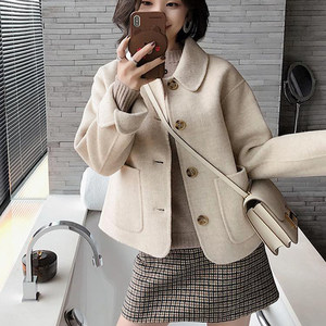 2019秋新款小个子反季双面羊绒大衣女短款100%羊毛<span class=H>娃娃</span>领毛呢外套