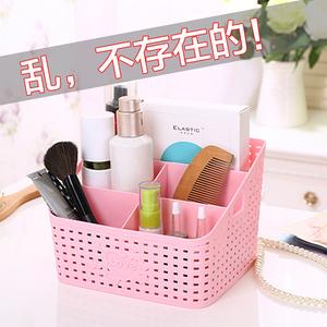 大号5格藤编造型多格化妆品<span class=H>收纳盒</span>桌面杂物整理盒梳妆台储物盒子