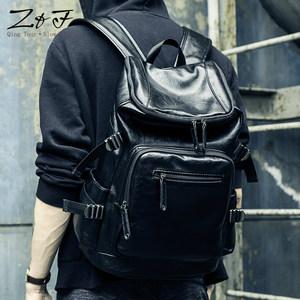 男士双肩包旅行欧美大容量青年学生旅游男包背包书包时尚潮流皮质