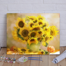 Diy Digital Oil Painting Landscape Flowers Living Room Bedroom Warm Yang European Framed 40*50 Hand-painted Decorative Painting Free of Domestic Freight