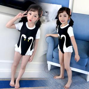 儿童中大童女游泳衣连体公主裙式泳衣