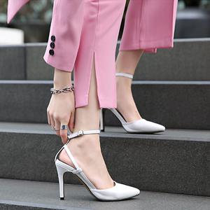 2019新款夏季白色高跟女<span class=H>凉鞋</span>性感细跟职业工作女鞋一字扣尖头单鞋