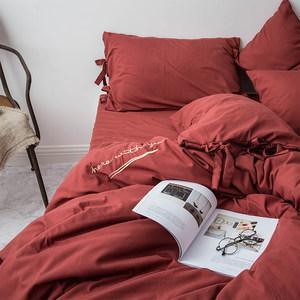 INS秋冬磨毛床单被套少女心纯色网红<span class=H>四件套</span>床笠单人双人床上用品