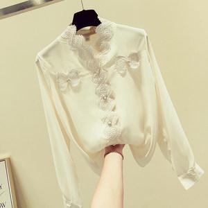 洋气雪纺衫小衫2019春装新款女装V领气质时尚长袖衬衫蕾丝上衣