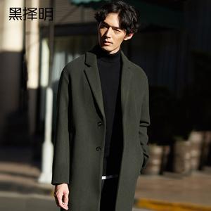 黑择明冬季新款男士毛呢大衣韩版中长款呢子大衣男修身毛呢外套潮