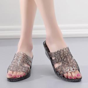 水晶塑料一字拖防滑坡跟厚底海边度假沙滩鞋夏季凉<span class=H>拖鞋</span>女外穿高跟