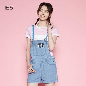 艾格ES女条纹修身字母短款牛仔<span class=H>背带裤</span>8E032306945