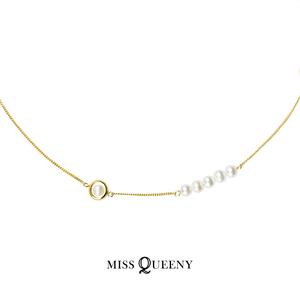 Miss Queeny原创 | 做个小女孩/天然<span class=H>珍珠</span>圈圈锁骨链/项链