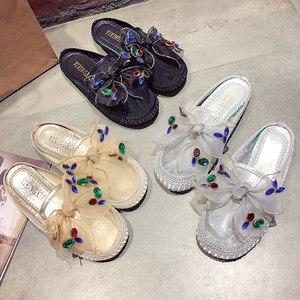 女式包头蕾丝女士凉<span class=H>拖鞋</span>夏季外穿家居室内防滑懒人一脚蹬<span class=H>拖鞋</span>女