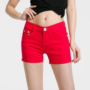 短裤女夏季2018新款韩版高腰学生修身显瘦糖果色牛仔外穿热裤大码