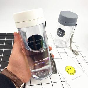 简约韩国学生水杯便携塑料水瓶夏季泡茶双层创意随手杯茶隔带提绳
