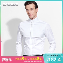 This BASIQUE new style business high collar shirt with Chinese style Men's long sleeves, slim body and fashionable stitching shirt