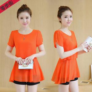 夏季女士中长款雪纺衫<span class=H>上衣</span>服2018新款韩版短袖百搭打底衫修身T恤