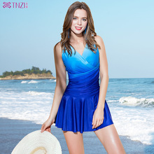 Tianzhi Swimming Suit Women's Connected Skirt Sexy Slender Gathering Swimming Suit Korean Edition Steel Supported Hot Spring Large-Size Swimming Suit
