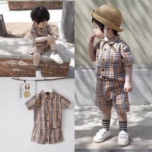 2019新款套装纯棉长袖春秋男女婴儿童装外出服家居服格子时尚幼儿