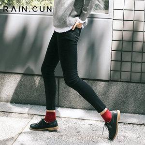 然与纯日系秋装韩版<span class=H>黑色</span>铅笔<span class=H>裤</span>学生<span class=H>高弹</span>力小脚<span class=H>裤</span>女修身加绒<span class=H>牛仔</span><span class=H>裤</span>