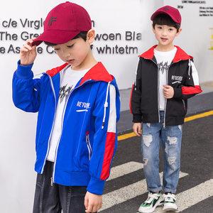 2019新款百搭童<span class=H>夹克</span>男童春装中大童儿童袖子拼接外套童装