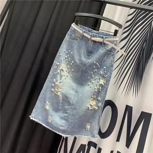 欧洲站新款2019夏季百搭中<span class=H>长裙</span>时尚钉珠个性磨破直筒半身裙牛仔裙