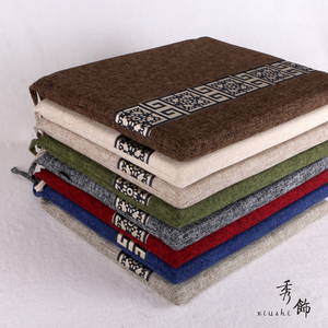 中式<span class=H>坐垫</span>红木实木餐椅垫子亚麻棉麻座椅垫简约四季海绵棕垫沙发垫