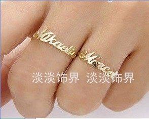 定制18K或14k黄金白金玫瑰金字母戒指指环订定做情侣对戒女款