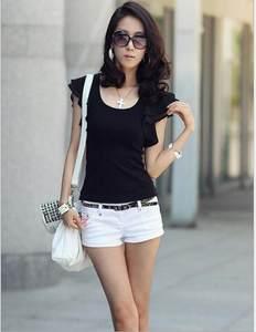 韩版夏季新款女装T恤荷叶边短袖修身显瘦纯棉紧身<span class=H>上衣</span>大码打底衫