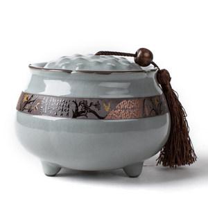 琨德 哥窯汝窯<span class=H>茶葉罐</span>陶瓷大號普洱茶葉桶密封罐儲存罐包裝盒開片