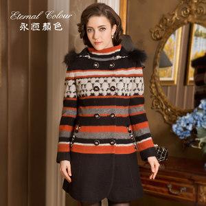 永恒颜色女装冬装羊毛<span class=H>大衣</span>中长款双排扣外套G42853