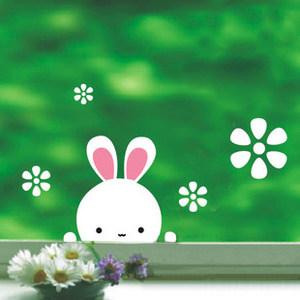 墙贴纸/小兔子/墙纸贴墙贴画贴花 <span class=H>窗子</span>玻璃阳台 衣柜瓷砖电表箱