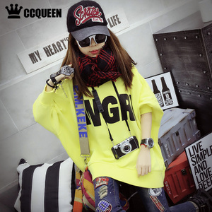 Ccqueen2018新款<span class=H>女装</span>春装潮流休闲字母ANGRY宽松中长蝙蝠袖<span class=H>卫衣</span>