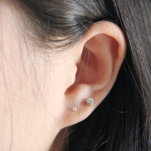 chiclife925纯银<span class=H>耳钉</span>女气质水晶钻石韩版防过敏超小耳环简单百搭