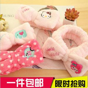 家用粉色毛绒刺绣运动<span class=H>束发带</span> 韩版可爱卡通大蝴蝶结洗脸洗头发带