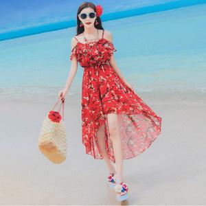2017夏季新款女装雪纺<span class=H>吊带</span>燕尾<span class=H>连衣裙</span>长裙波西米亚海边度假沙滩裙
