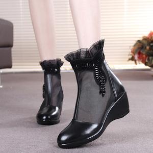 春秋新款真皮镂空网靴女短靴坡跟中老年妈妈单<span class=H>靴子</span>大码单靴<span class=H>女鞋</span>子