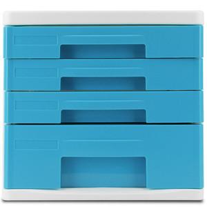 得力9761文件柜4层塑料A4桌面抽屉收纳办公资料分类整理彩色时尚