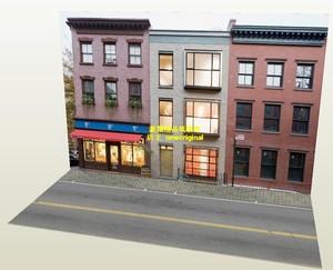 1比18 64家具商店居民楼住宅楼街道商业街车模汽车场景背景纸模型