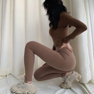 欧美INS春季新款大地色时尚高腰显瘦纯色紧身健身裤休闲裤<span class=H>打底裤</span>