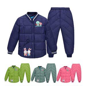 冬季新款儿童装羽绒服男童女童宝宝羽绒服内胆套装上衣裤子两件套